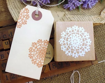Wooden and rubber stamp doily lace