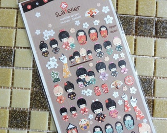 Stickers scrapbooking Suatelier Japanese dolls in assorted designs