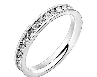 Eternity ring stainless steel fit/size 8 also available in pink and blue listed here