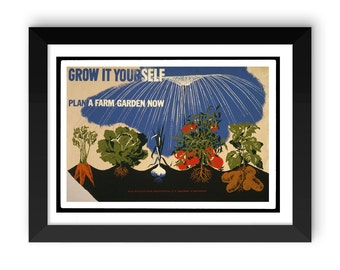 VINTAGE POSTER | wpa poster | food poster | grow it yourself | home garden print | World War II poster | framed print | framed poster