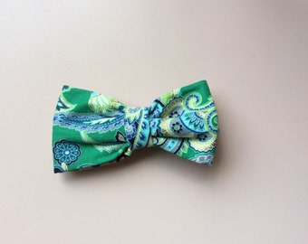 Green Paisley Toddler Hair Bow - 3 inch bow with alligator clip, Green hair bow, Paisley Matching accessories, flower girl, toddler hair bow