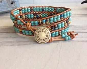 Southwestern Turquoise Beaded Leather Wrap Bracelet, Southwestern Jewelry, Boho Leather Bracelet, Turquoise Bracelet, Three Wrap Bracelet