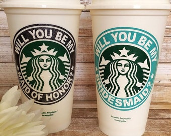 Will you be my Bridesmaid/Bridesmaid Cup/Maid of Honor Cup/Starbucks Cup/Personalized Bridesmaid Gift/Maid of Honor Gift/Bridal Party Gift
