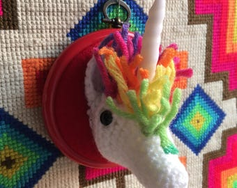 Unicorn fauxdermy with rainbow hair and sparkle horn Vegan