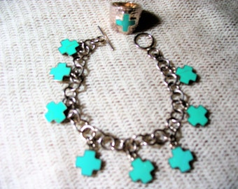 Vintage Cross Turquoise and Silver Bracelet and Ring Set