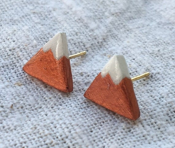 Mountain earrings, triangle studs, triangle earrings, minimalist earrings, tiny earrings, dainty earrings, mountain earrings, mountain posts