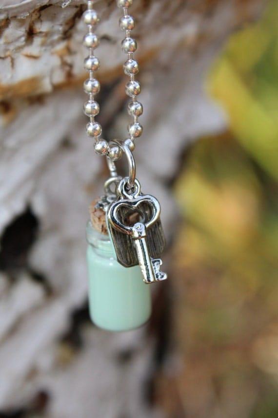 Mint Green Lock and Key - mini cork bottle necklace