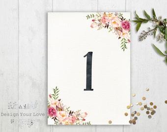 printable wedding table numbers printable pink floral boho wedding table numbers watercolor floral wedding boehemian wedding decor rustic