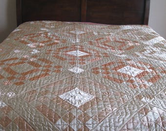 SALE!! 1920's Antique HANDSEWN Satin QUILT~Beautiful Coral-Peach-Cream Satin Quilt~Full Size Vintage Shimmery Quilt~Midwest Handmade Quilt.