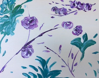"Purple/Teal Floral - wall décor acrylic painting, 11""x14"" canvas stretched/wrapped on 5/8"" bars"