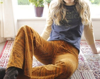 Watch Her Ride Vintage c. 1970's Psychedelic Glam Rock Cord Flares