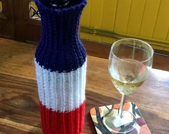 Union Jack flag knitted wine bottle cover