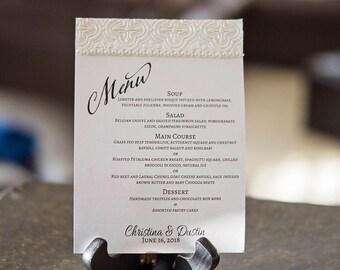 Luxury Wedding Reception Menu | Romantic Embellished Reception Menu | Pearl Embellished Reception Menu | Wedding Reception Menu