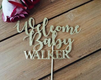 Welcome baby cake topper, baby shower cake top, baby shower decorations, gold cake topper, pink and gold baby shower, girl baby shower decor