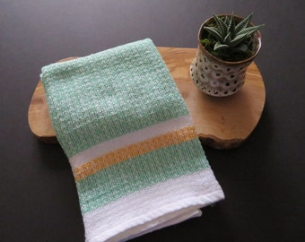 Handwoven Organic Cotton Linen Towel - Green Stripe