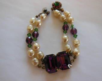Vintage Miriam Haskell Baroque Pearl & Amethyst Double Strand Bracelet