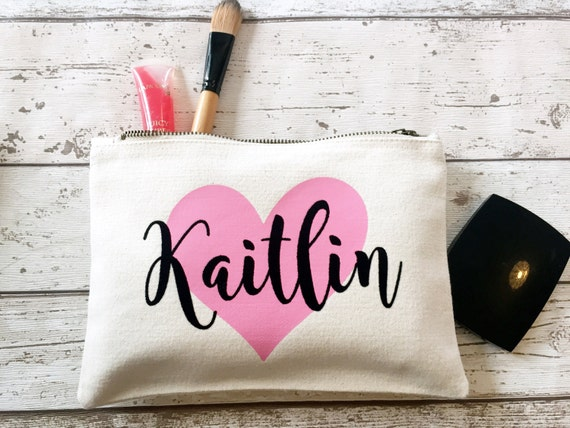 Heart Personalised make up bag
