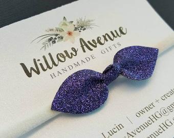 Purple glitter headband - stretches to fit newborn through adult - one size fits most - sparkly dark purple on cream head band