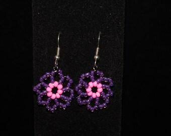 Purple daisy earring and bracelet set