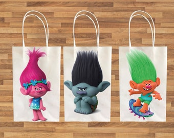 TROLLS inspired idea for kids birthday Party decoration Favor Bag PRINTABLE Instant Download easy diy activity, birthday decor theme