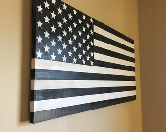 Black and white wooden American flag