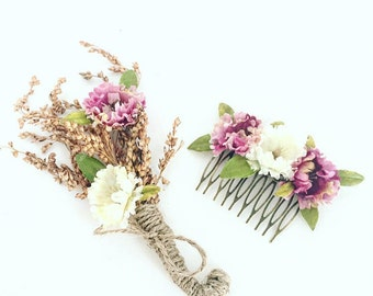 Wedding hair comb, wedding boutanier, floral hair comb, floral hair accessory, flower hair accessory, prom accessory, wedding flower crown