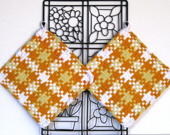 GK's Kitchen - One Pair - Orange Yellow and White Plaid Potholders.   Item # GK's Kitchen - Fall 00305