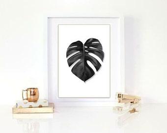 Black leaf print