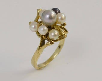 14k Yellow Gold Multi Colored Pearls Ring 6.3 Mm Size 6.25 (01108)
