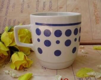 Vintage,Hungarian Zsolnay porcelain  spotted mug/glass ,stamped