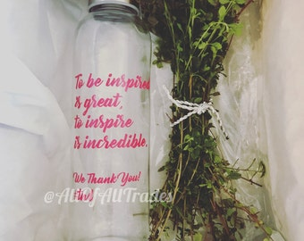 Glass Water Bottle - Inspiration Custom Quote