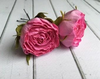 Pink hair pins Rose hair pin Flower hair pin Bridal hair pins Set hair pin Hair pins wedding Wedding headpiece Flower hair pins Bridal hair