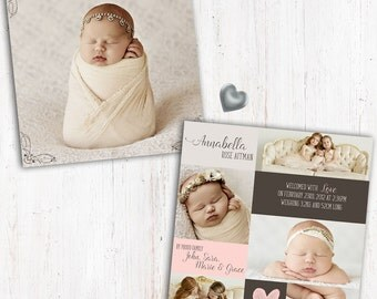 Photo Birth Announcement   Baby Birth Announcement   Square   Double Sided   Card stock 350gsm Silk   Girl Birth Announcement   Envelopes