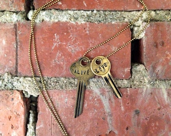 Key of Purpose Duo in Vintage Brass / double key necklace