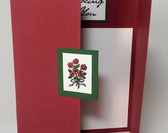 Thinking of You card, Sympathy card, get well card, roses, handmade greeting cards, paper handmade greeting cards, blank cards