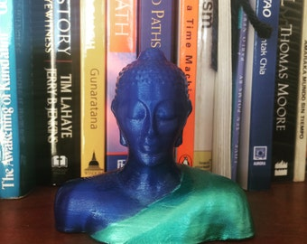 Buddha Statue 3D Printed Blue Sculpture Turquoise Robe Hand Finished