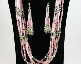 Soft Pink Multi Strand Beaded Necklace and Dangle Earring Set Vintage Jewelry