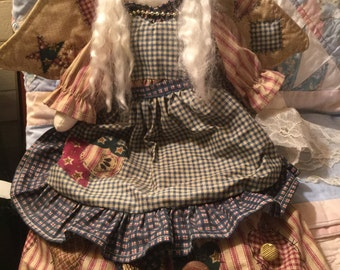 "Handmade Fabric Christmas Angel 15"""