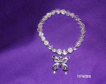 N407 Clear Glass with Metal Bracelet with Butterfly charm