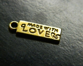 """Gold Tone Necklace Chain """"Made With Love"""" Tab Bead - Personal Accessories - Tab Findings - 3 Per Order"""