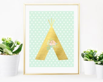 Baby Room Printable Mint and Gold Foil Boho - Teepee Print - Mint and Gold Tribal Nursery Decorations - Mint Gold Foil Print - Digital Print