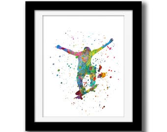 SALE - Rainbow Watercolor Paint Splatter Wall Decor - Skateboarding Art Digital Download - Skateboarder Print - Watercolor Paint Splatter
