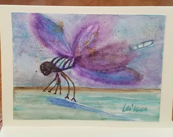 Dragonfly painting, Dragonfly art, dragonfly watercolor, blank thank you card, with Envelope, all occasion cards, blank greeting cards, love
