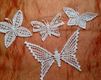 Set 4 farfalle bianche all'uncinetto applique, farfalle applique uncinetto