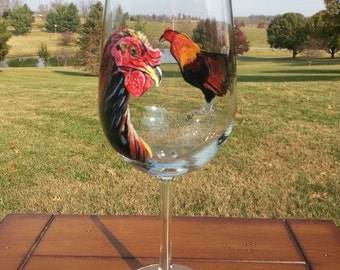 18 1/4 oz. Hand-painted Rooster Wine Glass