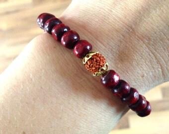 Shiva & Shakti | Rosewood | Rudraksha. Bracelet | Yoga jewelry