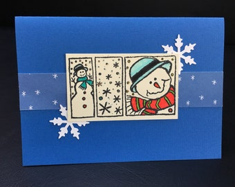 Cute Snowman & Snowflakes Holiday Christmas Greeting Card - Handmade Stamped - One of a Kind
