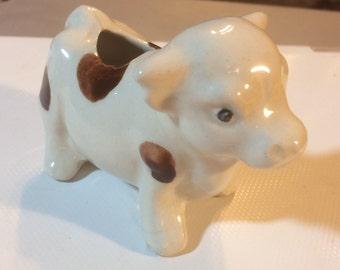 Vintage Ceramic spotted cow toothpick holder 1r