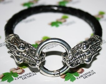 HERMES 6mm Single Leather Mens' Bracelet with 2 Dragon heads Clasp