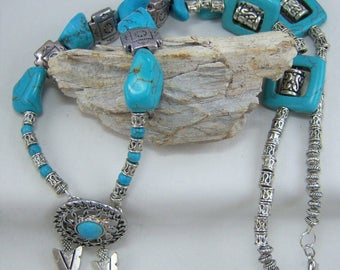 T061, Turquoise Dyed Howlite with Silver Plated Bead Necklace